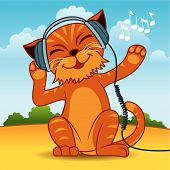 Fun vector illustration of an orange fur cat wearing headphones and enjoying the music. More animals in my portfolio. poster