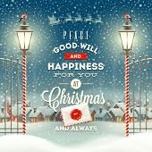 Christmas greeting type design with vintage street lantern against a evening rural winter landscape - holidays vector illustration poster