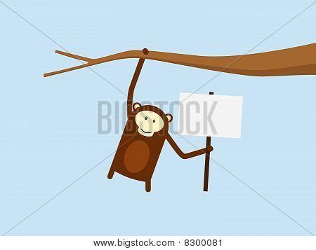 Monkey Holding Sign