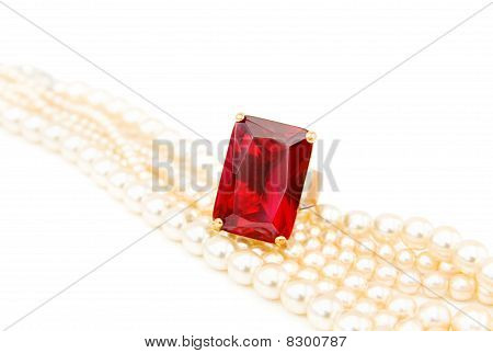 Ruby Ring On Pearls