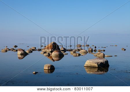 The stones into the Baltic sea on beauty horison