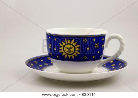 Blue bone china teacup and  saucer