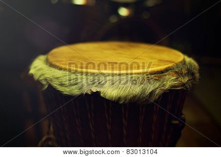 Original African Djembe Drum With Leather Lamina With Beautiful Hair In Beautiful Tyellow Light With