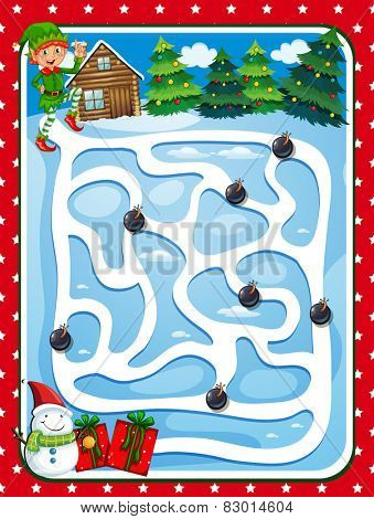 Illustration of a puzzle game with chritmas background