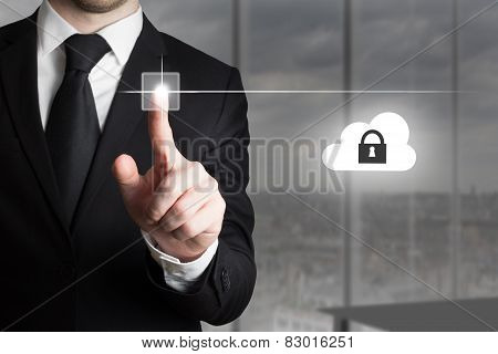Businessman Pushing Touchscreen Button Cloud Security