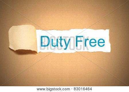 Brown Paper Torn To Reveal Duty Free