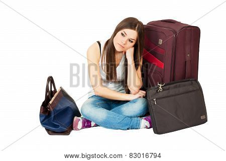 Young attractive woman dreaming about vacation or jorney