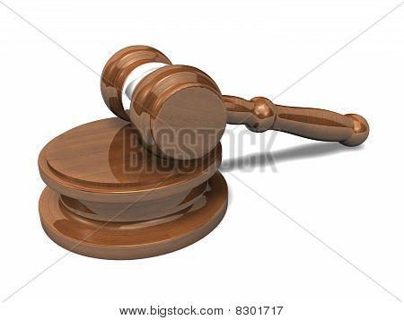Wooden Auction Hammer 3D Rendered