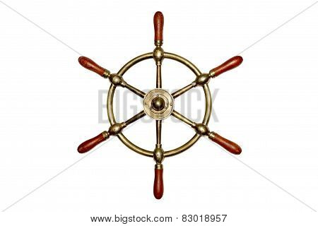 Isolated Brass Ship Wheel