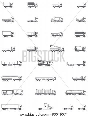 Set of the different types of trucks vehicles