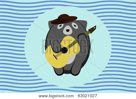 Cute raccon playing guitar