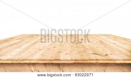 Empty wooden table on white background