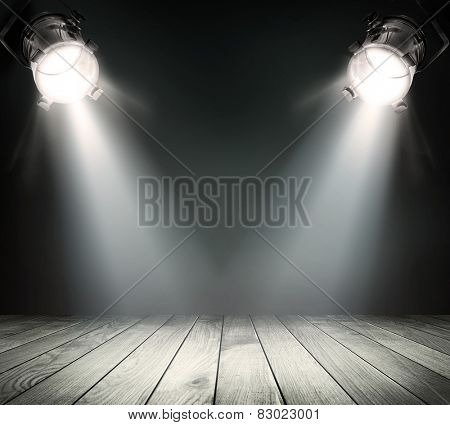 Dark background with spotlights