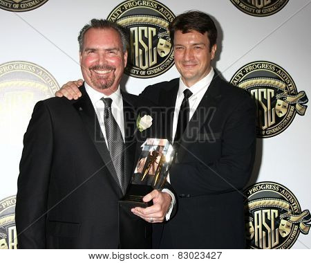 LOS ANGELES - FEB 15:  Bill Roe, Nathan Fillion at the 2015 American Society of Cinematographers Awards at a Century Plaza Hotel on February 15, 2015 in Century City, CA