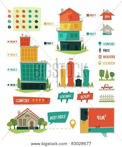 Real estate. Infographic elements. Vector illustration.