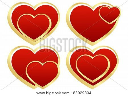 Set Of Stylized Hearts
