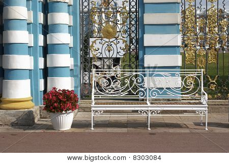 Delicate Bench And Flowerpot With Colors