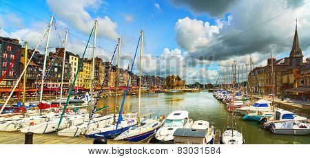 Honfleur Skyline Harbor, Boats And Water. Normandy, France