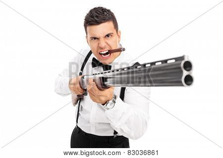 Aggressive man threatening with a shotgun isolated on white background poster