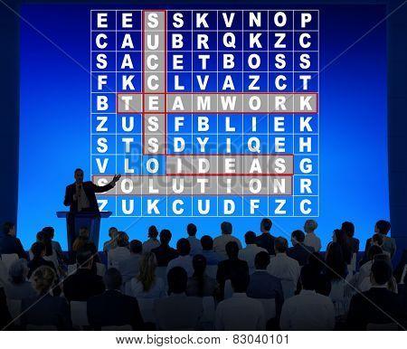 Success Crossword Puzzle Words Achivement Game Concept