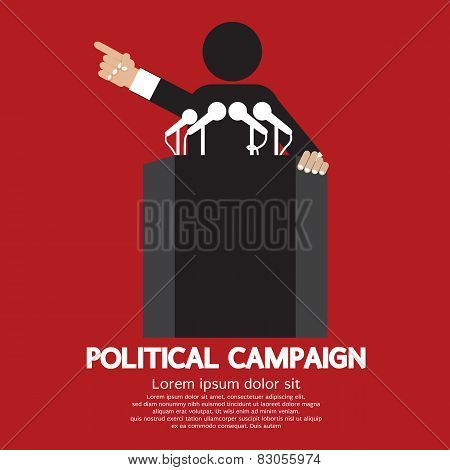poster of Spoke Man On Podium Political Campaign Vector Illustration. EPS 10