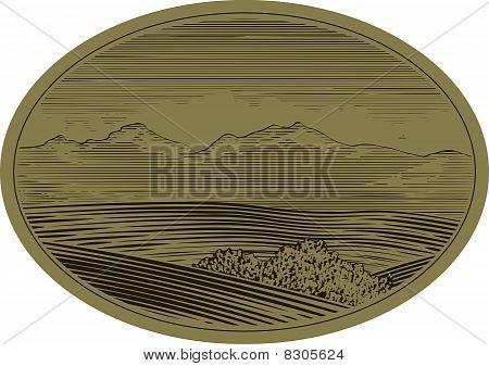 Woodcut Mountain Scene