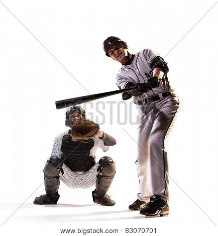 isolated on white professional baseball players