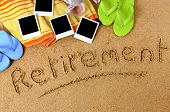 Beach background with towel flip flops blank photo prints and the word Retirement written in sand. poster