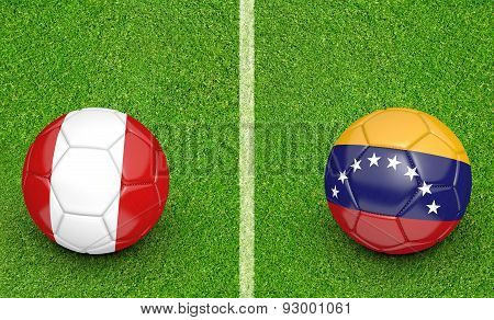 Versus concept for the 2015 Copa America football tournament with national teams Peru and Venezuela. poster