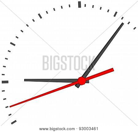 Clock face with red second hand
