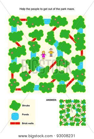 Maze game for kids with people in the park