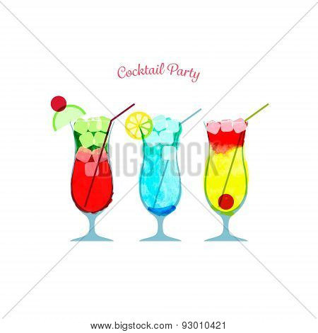 Vector illustration of watercolor cocktail party poster template