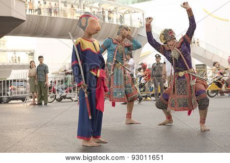 Group of Thai dramatic traditional dancer