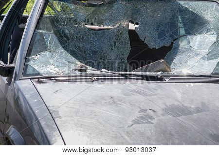 Car windscreen broken. Old and Wrecked car.
