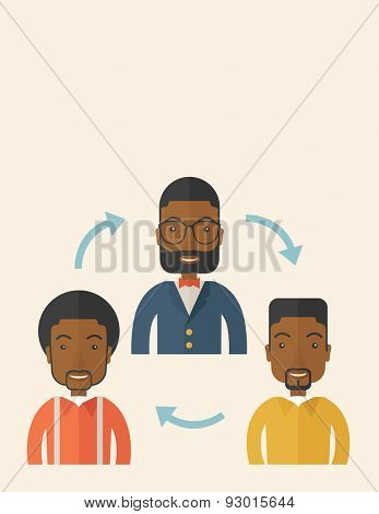 A smiling group young african are in brainstorming for their marketing presentation. teamwork concept. A Contemporary style with pastel palette, soft beige tinted background. Vector flat design poster