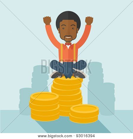 A proud african-american businessman sitting on a pile of dollar coins. Successful concept. A contemporary style with pastel palette soft blue tinted background. Vector flat design illustration
