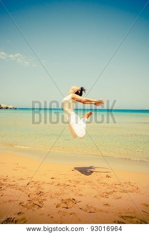 Girl jumps in the air