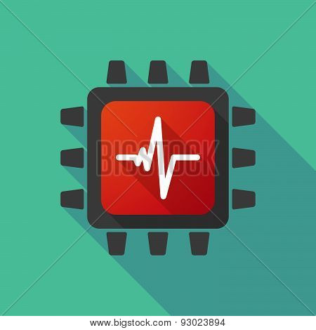 Illustration of a CPU icon with a heart beat sign poster