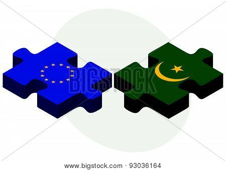 European Union and Mauritania Flags in puzzle isolated on white background. poster