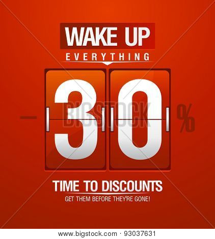 Time to discounts. 30% sale coupon in shape of red analog flip clock.