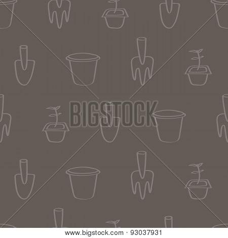 Seamless Cartoon Gardening Background