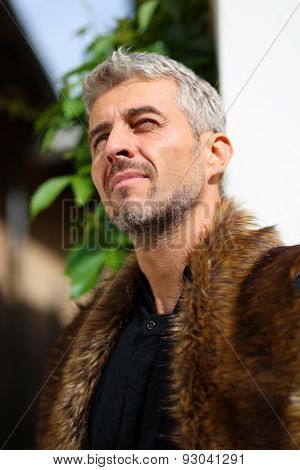 Portrait Of A Sexy Man In Wolf  Fur