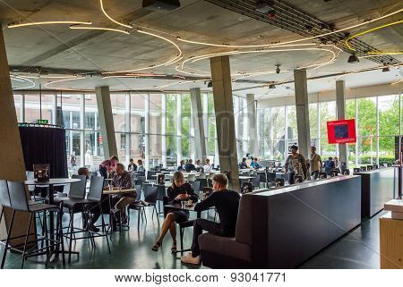 Rotterdam, Netherlands - May 9, 2015: People At Cafeteria Of Kunsthal Museum In Rotterdam.