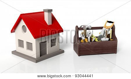 House model with tool kit isolated on white background
