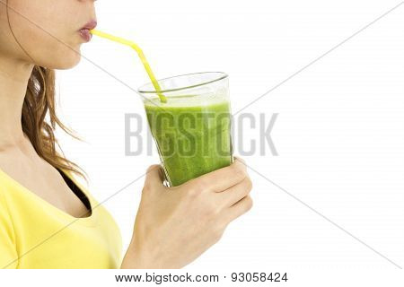 Profile View Of Woman Drinking Green Smothie