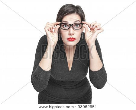 Plus Size Woman In Glasses Looking On You Isolated