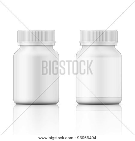 White plastic bottle for pills.