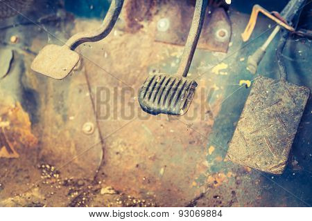 Interior of vintage car ( Filtered image processed vintage effect. )