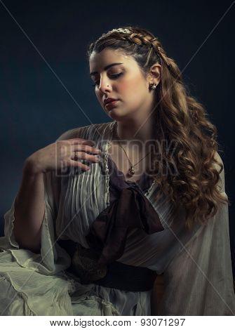 Elegant Female With Braid And Headband