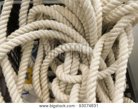 Coiled rope on boats deck useful as a navy concept